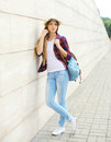 Pretty Cool Girl Wearing A Straw Hat, Shirt And Backpack Royalty Free Stock Photography - 58352587