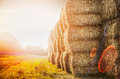Harvest Bales Of Straw On Sunset Nature Background Royalty Free Stock Image - 58370586