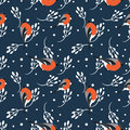 Bullfinch And Berberry Branch Seamless Pattern. Vector Background Royalty Free Stock Images - 58385829