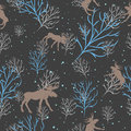 Forest Deer And Snow Tree Seamless Pattern. Vector Background Royalty Free Stock Image - 58385896