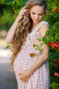 Beautiful Pregnant Woman In The Park Royalty Free Stock Image - 58388506