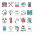 Energy And Fuels Flat Line Icon Set Royalty Free Stock Photography - 58391387