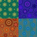 Four Seamless Pattern With Decorative Flowers. Blue, Green, Blue And Orange.jpg Stock Images - 58391404