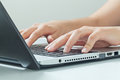 Macro Photo Of Female Hands Typing On Laptop. Businesswoman Work Stock Images - 58392924