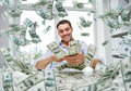 Happy Businessman With Heap Of Money Stock Images - 58395634