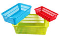 Three Set Colors And Sizes Plastic Boxes For Household Storage Stock Images - 58415094