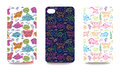 Mobile Phone Cover Back Set With Sea Life Pattern Royalty Free Stock Image - 58421986