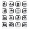 Black And White Airport, Travel And Transportation Icons Royalty Free Stock Photos - 58425098