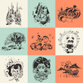Set Of Nine Illustrations With Hand Drawn Stock Photos - 58432993