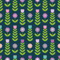 Flower Seamless Pattern On The Dark Background. Stock Image - 58447501