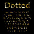 Gold Dotted Metal Alphabet Set Letters, Numbers And Signs Stock Images - 58463304