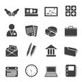 Silhouette Simple Business And Office Icons Stock Photo - 58470040