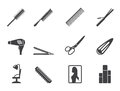 Silhouette Hairdressing, Coiffure And Make-up Icons Stock Photography - 58471212