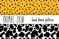 Animal Skin Hand Drawn Texture, Vector Seamless Pattern Set, Sketch Drawing Leapard Dots And Cow Skin Textures Royalty Free Stock Images - 58473899