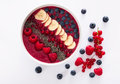 Berry Smoothie Bowl With Chia Seeds, Bananas, Blueberries, Currant And Raspberries On Black White Background Royalty Free Stock Photography - 58480447