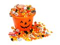 Halloween Jack O Lantern Pail Overflowing With Candy Royalty Free Stock Photography - 58491177