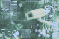 CCTV Camera Or Surveillance Technology On Screen Royalty Free Stock Images - 58495599