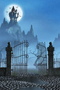 Rusty Gate And A Spooky Dark Castle Stock Image - 58503151