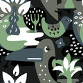 Modern Vector Pattern With Birds And Plants. Stock Photography - 58516452