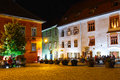 Night View Of Historic Town Sighisoara Stock Images - 58522914