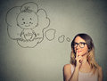 Woman Thinking Dreaming Of A Child Stock Images - 58534034