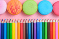 Colored Pencils And Macaroon On Pink Background Royalty Free Stock Photos - 58545558
