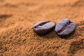 Closeup Of Coffee Beans At Roasted Coffee Heap Royalty Free Stock Images - 58551239