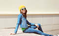 Happy Pretty Young Woman Wearing A Sunglasses And Jeans Clothes Stock Photography - 58558902