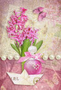 Greeting Card With Butterfly, Hyacinth, Perfume And Paper Boat. Royalty Free Stock Photo - 58576505