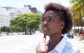 Thinking African American Woman In The City Royalty Free Stock Image - 58579526