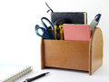 Closeup Brown Plywood Desk Organizer With Office Supplies And Stationery Isolated On White Background Stock Photography - 58579852