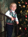 Boy And Christmas Tree Royalty Free Stock Image - 5866376