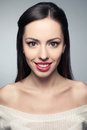 Portrait Of Beautiful Young Woman With Great White Shiny Smile Stock Photo - 58609350