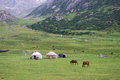 Yurts And Horses In Kyrgyzstan Royalty Free Stock Photos - 58644828