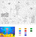Color By Number Educational Game For Kids. Diver On The Ocean Fl Royalty Free Stock Images - 58648069