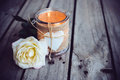 Candle In A Decorative Jar Stock Photography - 58652402