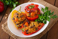 Stuffed Peppers With Rice, Beans And Pumpkin Stock Photo - 58654350
