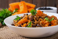 Mexican Vegan Vegetable Pilaf With Haricot Beans And Pumpkin Stock Image - 58654511
