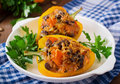 Stuffed Peppers With Rice, Beans And Pumpkin Royalty Free Stock Image - 58654586