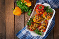 Stuffed Peppers With Rice, Beans And Pumpkin Royalty Free Stock Photos - 58654598