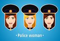 Set Of Vector Illustrations Of A Girl Police. Woman Police. The Girl S Face. Icon. Flat Icon. Minimalism. The Stylized Girl. Royalty Free Stock Images - 58656279