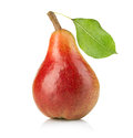 Ripe Pear With Leaf Close-up Isolated Stock Photos - 58699733