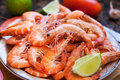 Fresh Delicious Prawns Royalty Free Stock Photography - 58711887