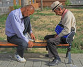 Two Men Are Playing Chess In Park Of Ulaanbatar Stock Images - 58712164