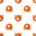 Vector Flat Cartoon Fox Heads Seamless Pattern Royalty Free Stock Images - 58721319