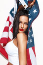 Sexy Brunette Woman Holding USA Flag Stock Photos - 58722373
