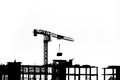 Construction Site With Cranes On Silhouette Background Royalty Free Stock Image - 58730016
