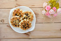 Sweet Waffles With Rose Bouquet Stock Photos - 58737933