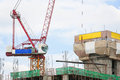 Crane Working Building In City On Sky. Royalty Free Stock Images - 58739769