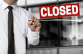 Closed Is Written By Businessman Background Royalty Free Stock Photos - 58743458